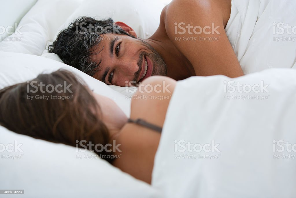 Richard & Kirstin sleeping in bed 0078 stock photo