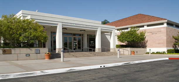 Yorba Linda, California, USA - April 16, 2013: The Richard Nixon Library and Museum in Yorba Linda, California. Nixon was the 37th president of the United States, from 1969 to 1974.