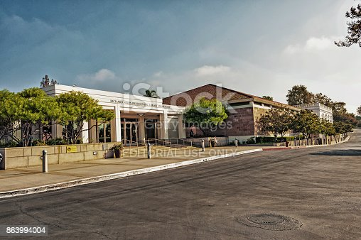 Yorba Linda, California, USA - October 13, 2017: This Presidental Library is located in Yorba Linda in Southern California, following a year closure for expansion and renovations and transfer ownereship to the Federal Government now this very interesting and beautiful memorial for President Nixon is open to the Public and on this October day it was a very interesting visit.