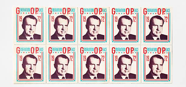 Richard Nixon Presidential Campaign Stickers stock photo