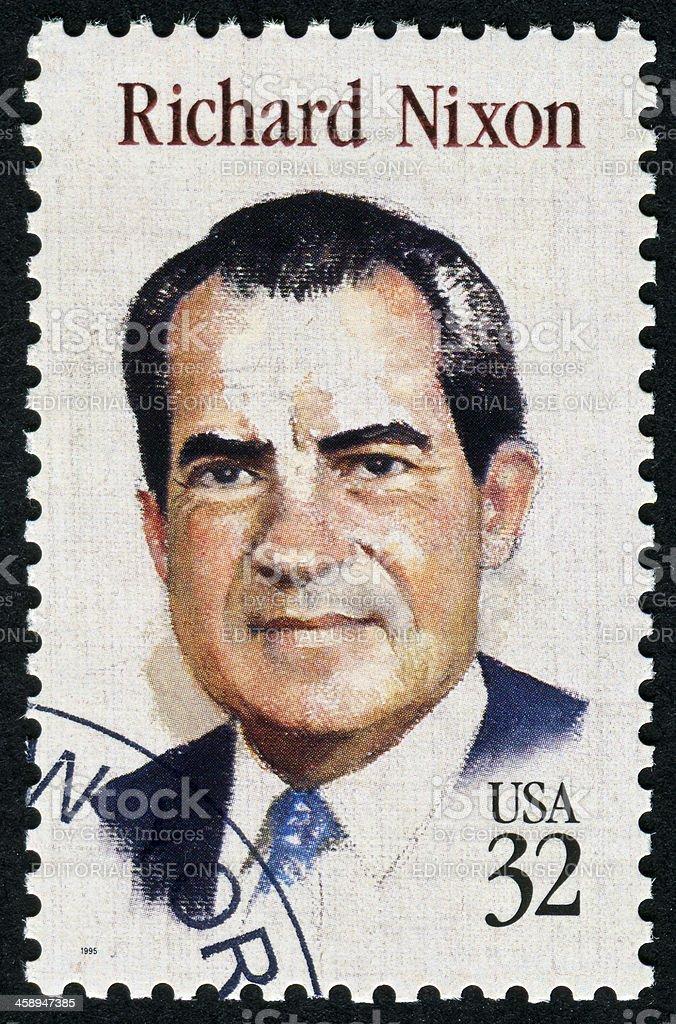 Richard Nixon Stamp stock photo