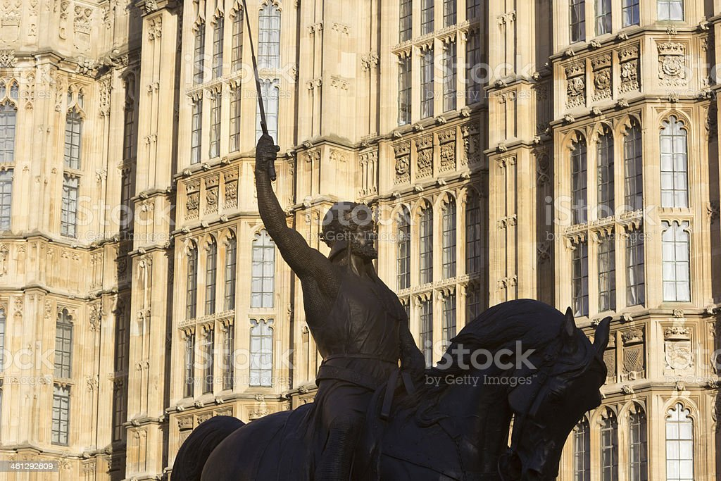 Richard the Lionheart at Houses of Parliament, London royalty-free stock photo