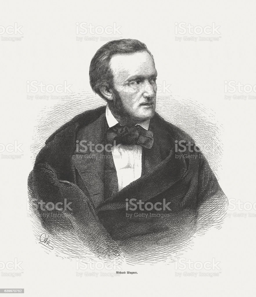 Richard Wagner (German composer, 1813-1883), wood engraving, published in 1865 stock photo