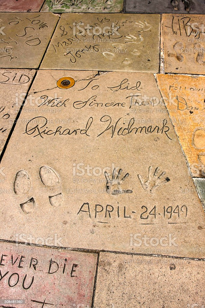 Richard Widmark hand and shoe prints in Hollywood CA stock photo