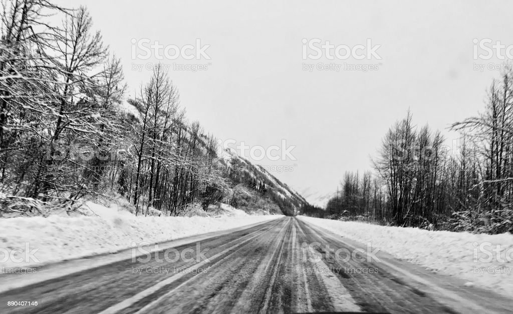 Richardson Highway Winter Storm stock photo