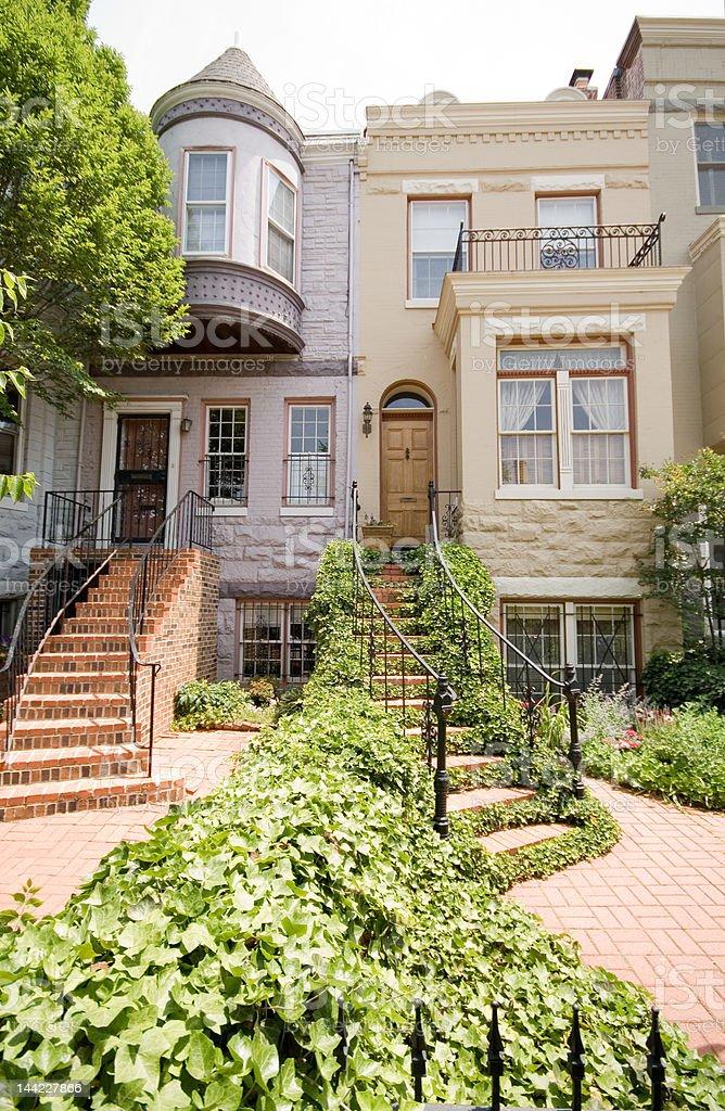 Richardsonian Romanesque Row House Staircase Ivy, Turret, Washington DC. stock photo