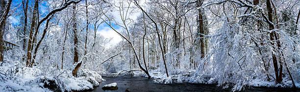 Richland Creek in Snow Panorama stock photo