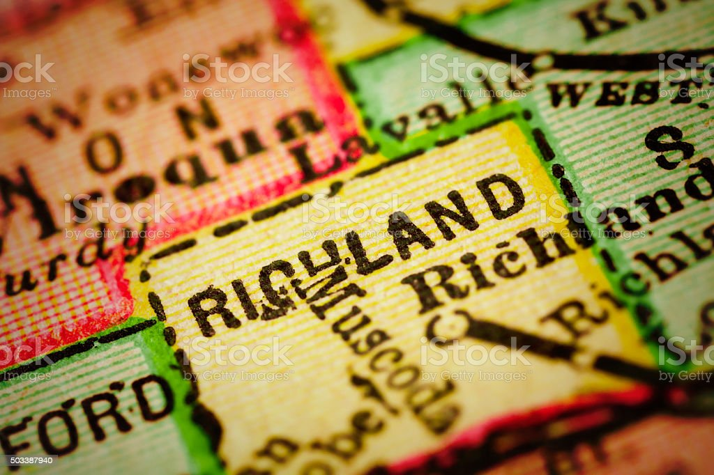 Close up on an antique map of the county of Richland, state of...