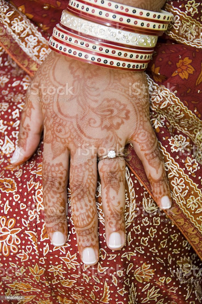 richly decorated hand of an  Indian bride royalty-free stock photo