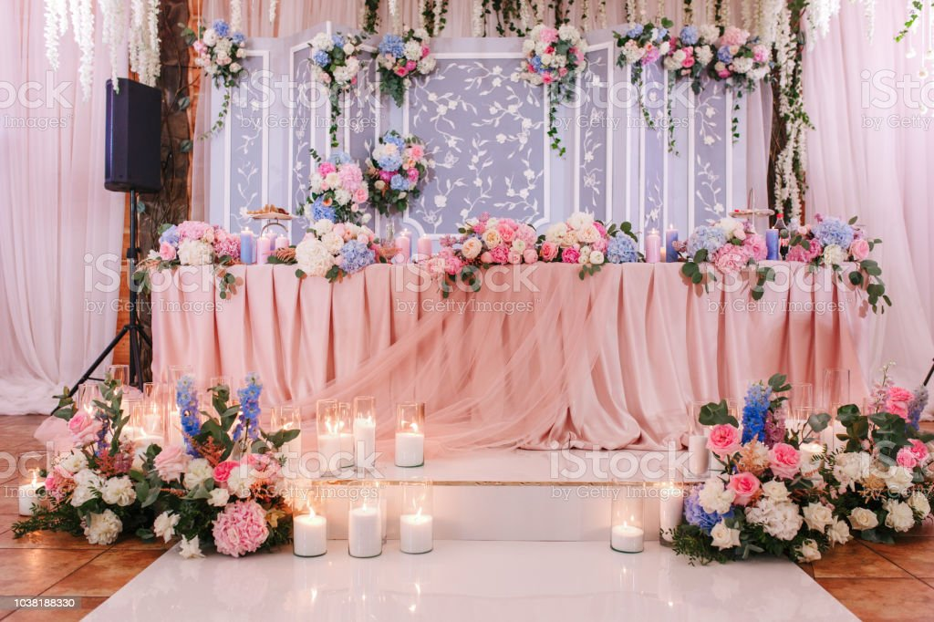 Richly Decorated With Flowers And Fabrics Reception For A Wedding
