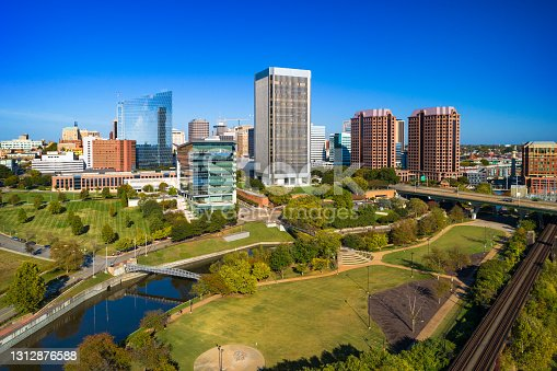 istock Richmond Downtown Aerial With Park Greenery 1312876588