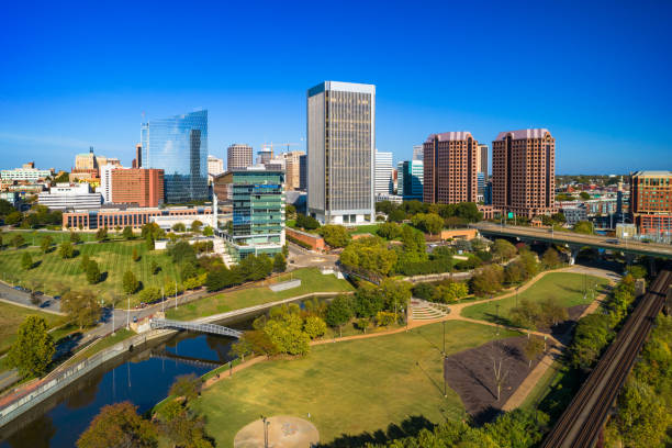 Richmond Downtown Aerial With Park Greenery stock photo