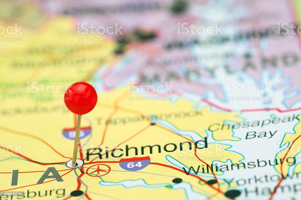 Richmond pinned on a map of USA stock photo