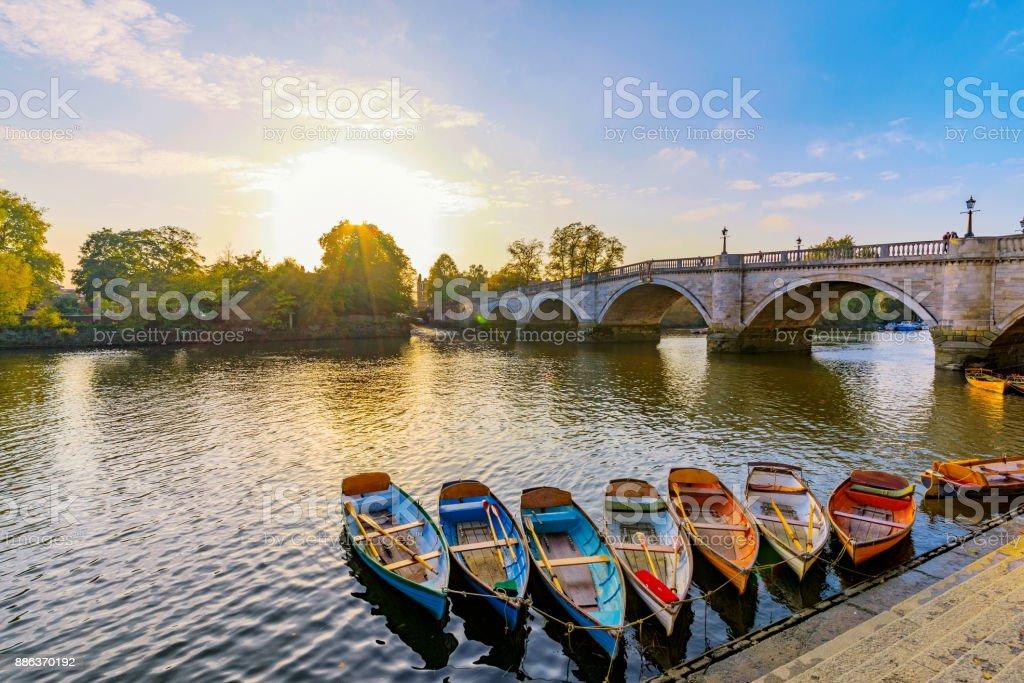 Richmond River Thames boats and bridge stock photo