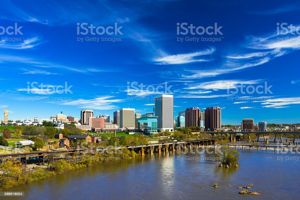 Richmond Skyline and River, Wide Angle with Wispy Clouds stock photo