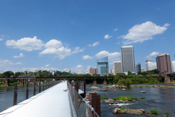 Richmond Skyline from the James River in Richmond, Virginia stock photo