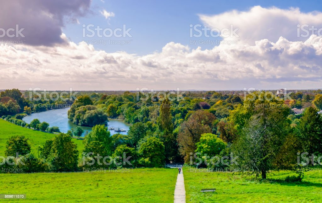 Richmond Terrace Field Footpath on Terrace Field by the river Thames in summer, London U.K Agricultural Field Stock Photo