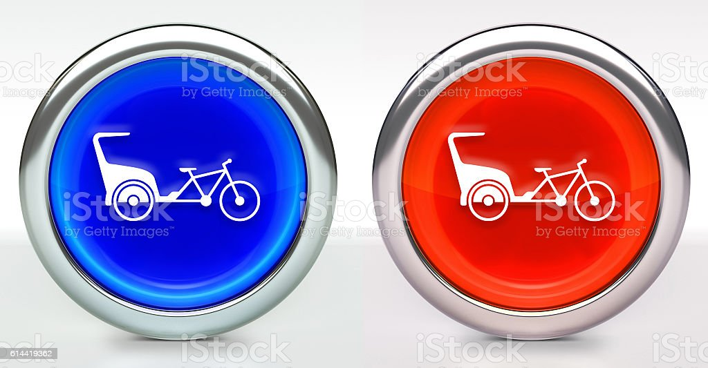 Rickshaw Bike Icon on Button with Metallic Rim stock photo