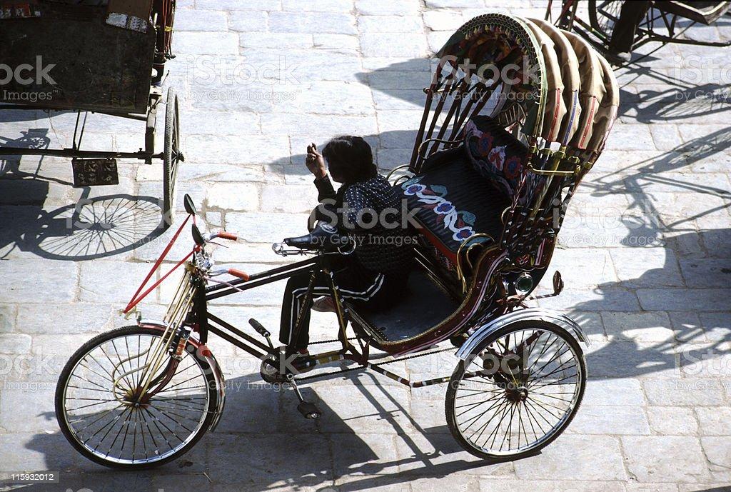 Rickshaw in Durbar Square, Kathmandu royalty-free stock photo