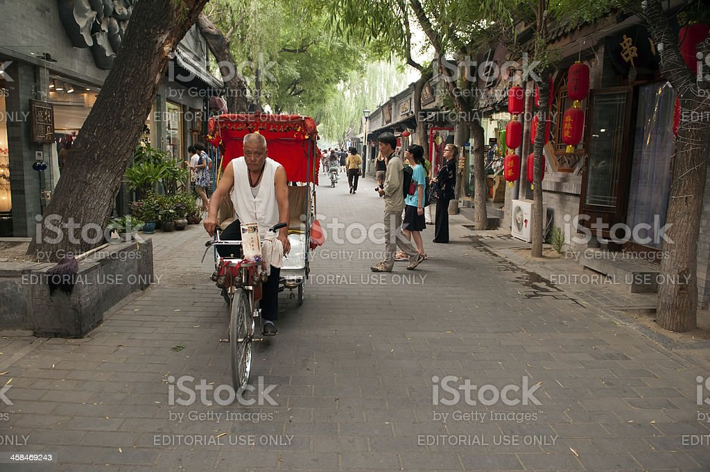 Rickshaw in the old Hutongs of Beijing stock photo