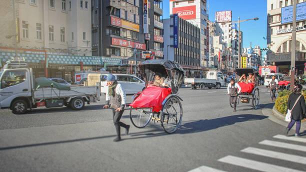 Rickshaw rally in Asakusa stock photo