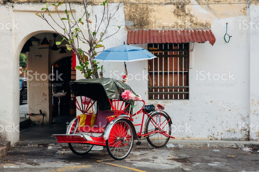 Rickshaw tricycle, Penang, Malaysia stock photo