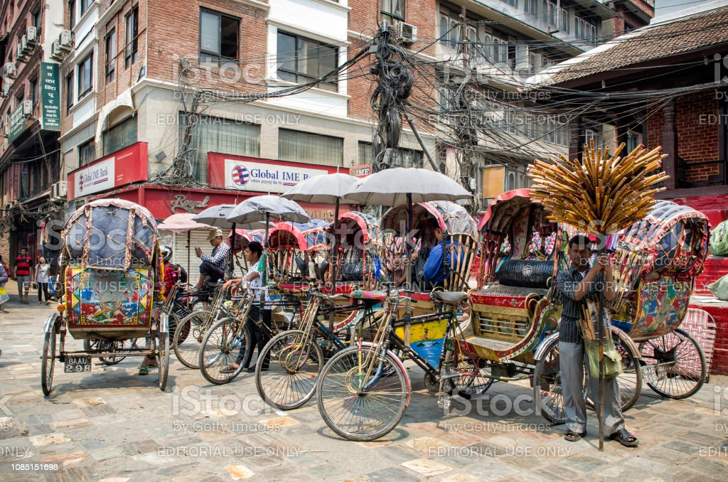 Rickshaws at Asan Tole Market, Kathmandu, Nepal stock photo