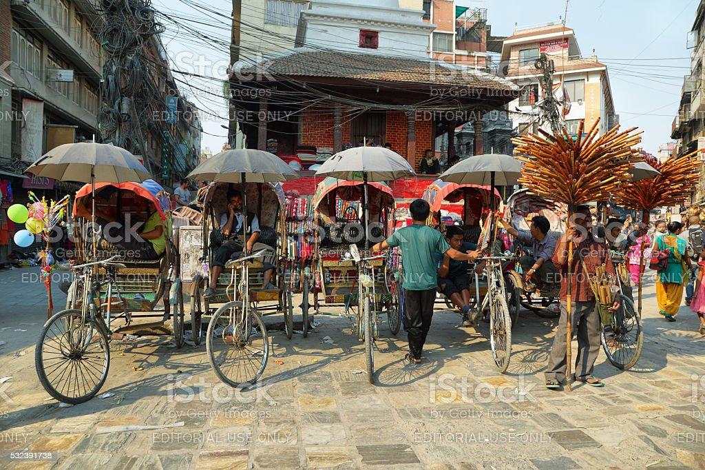 Rickshaws in the center of Kathmandu stock photo