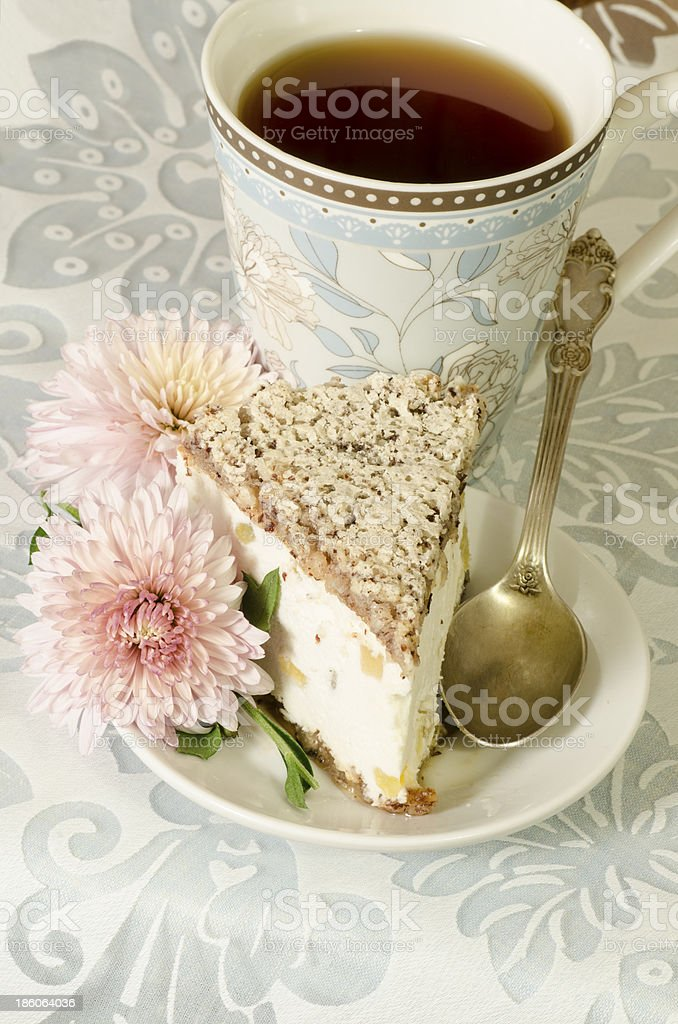 Ricotta and Pear Cake with cup of tea royalty-free stock photo