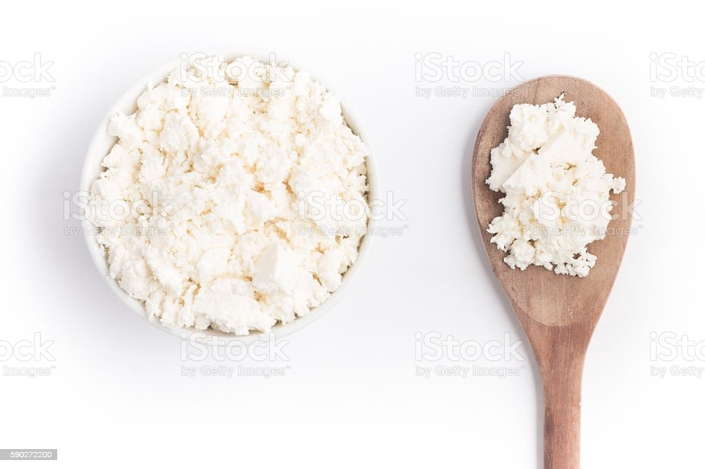 Ricotta Cheese into a bowl stock photo