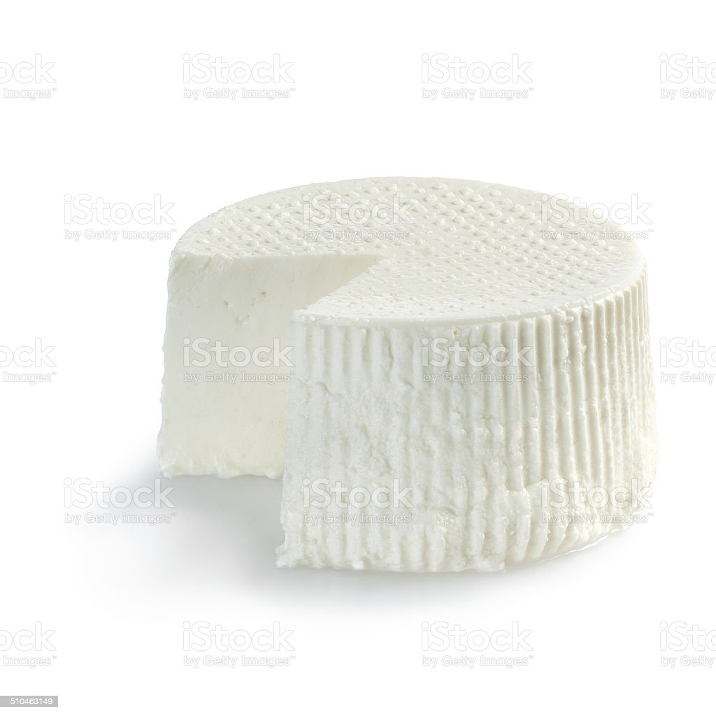 Ricotta cheese, just cutted on white background royalty-free stock photo