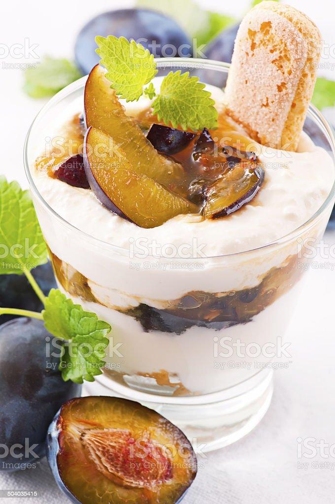 Ricotta Dessert with Plum stock photo