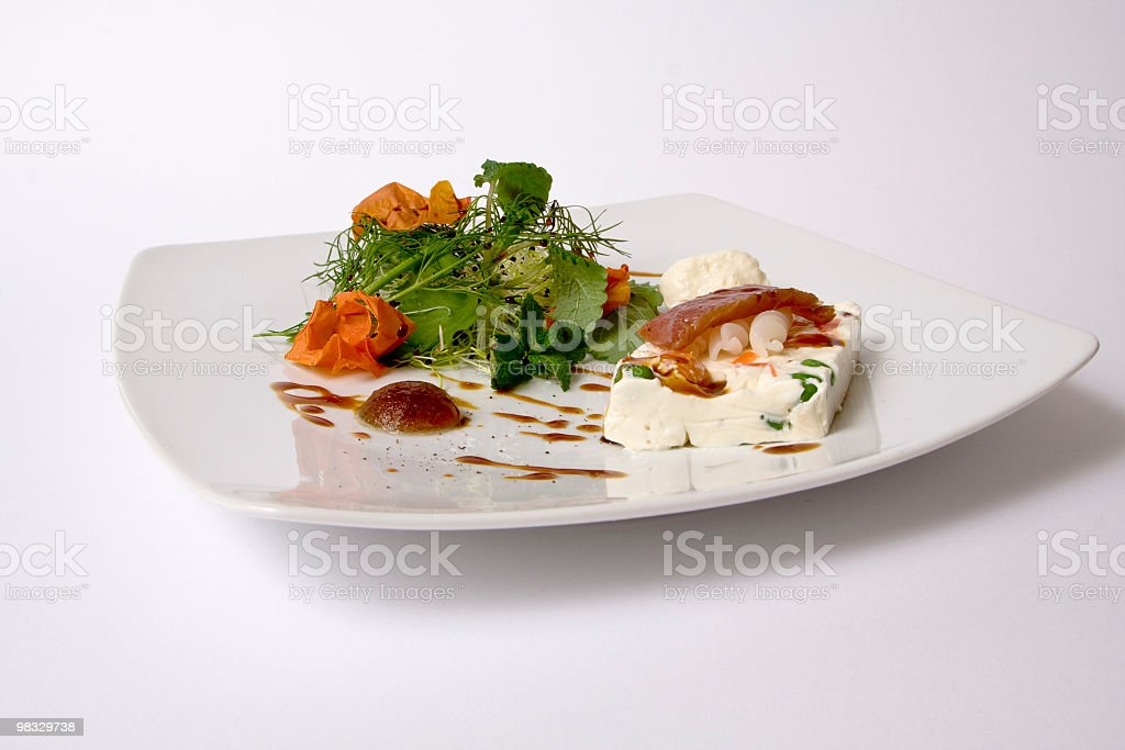 Ricotta pie, pasta, tuna and vegetables royalty-free stock photo