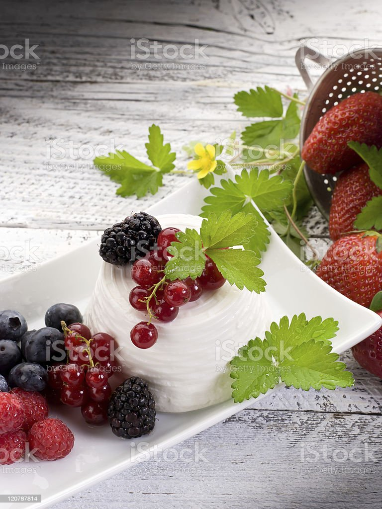 ricotta with soft fruits royalty-free stock photo