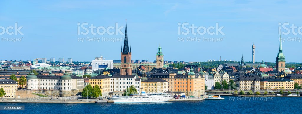 Riddarholmen and Gamla Stan City Skyline in Stockholm, Sweden stock photo