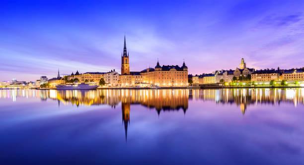 Riddarholmen and Gamla Stan Skyline in Stockholm at Twilight, Sweden stock photo