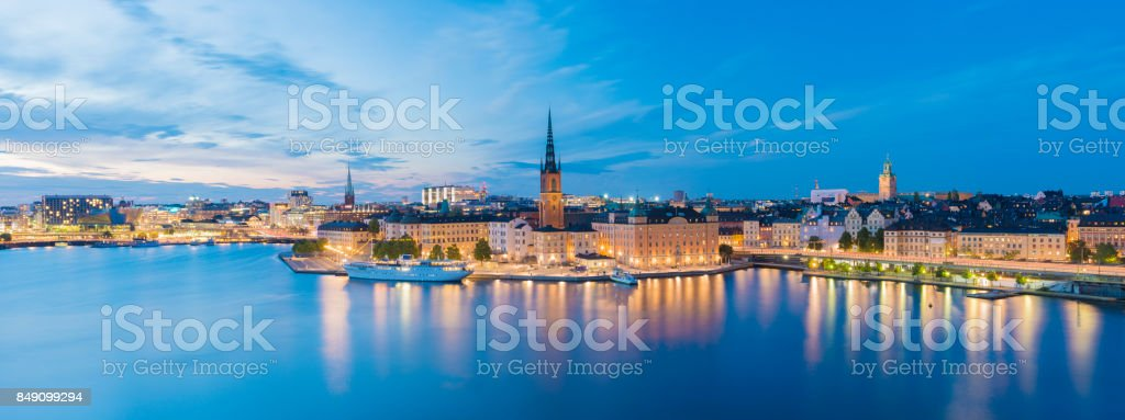 Riddarholmen and Gamla Stan Skyline in Stockholm at Twilight, Sweden stock photo