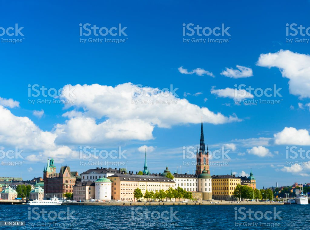 Riddarholmen and Gamla Stan Skyline in Stockholm, Sweden stock photo