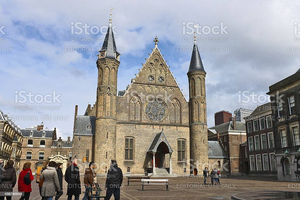 Ridderzaal, the Hague . Tourists visiting sights. Den Haag. stock photo