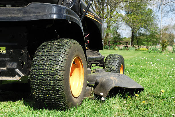 ride on mower, - riding lawn mower stock photos and pictures
