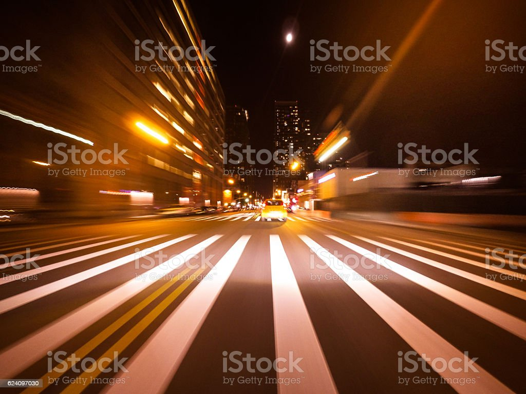 Ride on the night by car in New york city stock photo