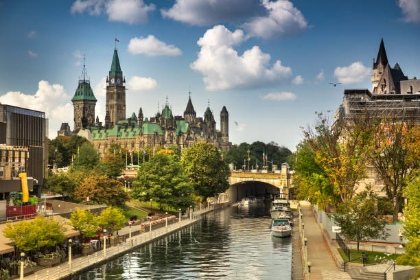 Rideau Canal by Parliament Hill in Ottawa Ontario Canada stock photo