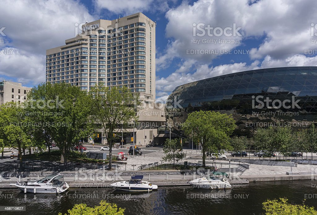 Rideau Canal, Westin Hotel, and Ottawa Convention Centre stock photo