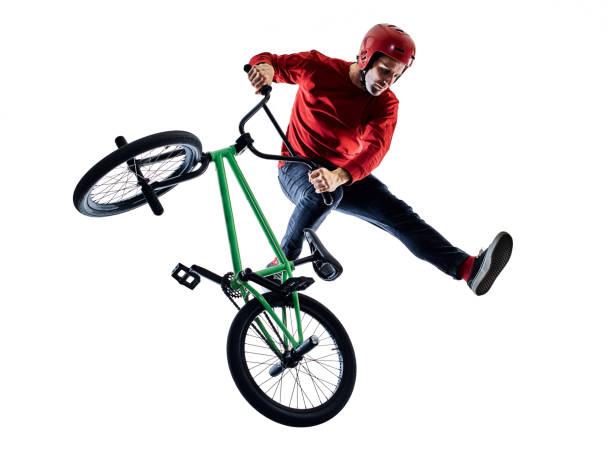 BMX-Fahrer Radfahrer Radfahren Freestyle akrobatische Stunt isoliert weißen Hintergrund – Foto