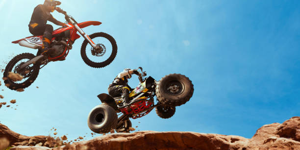 ATV Rider in the action with motocross  rider. Quad bike rider in the action with motocross  rider. quadbike stock pictures, royalty-free photos & images