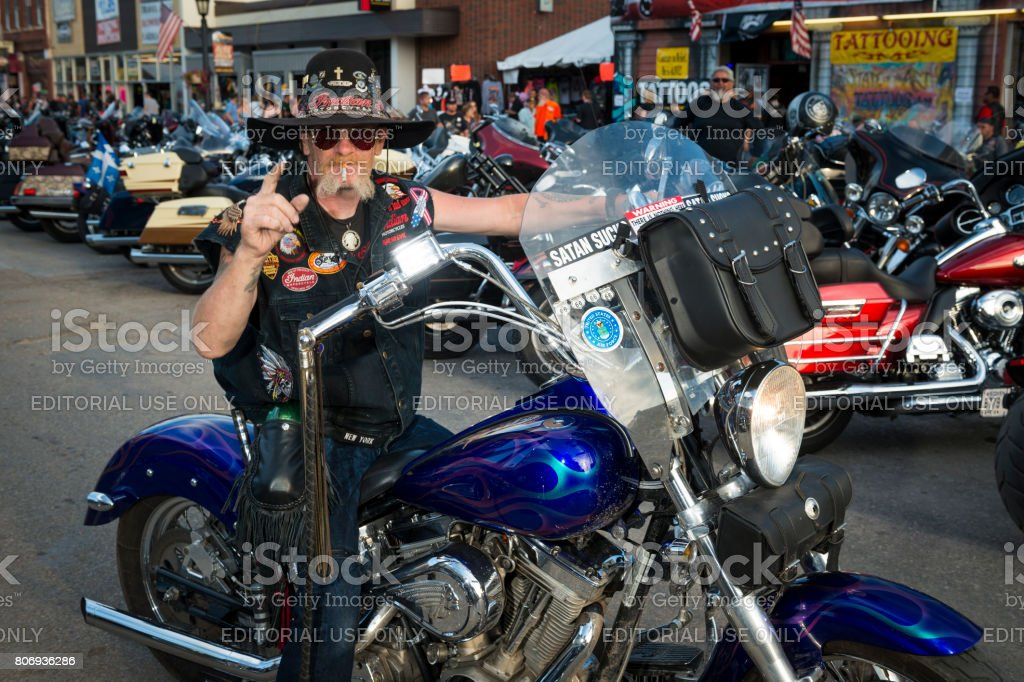 Rider in the main street of the city of Sturgis, in South Dakota, USA, during the annual Sturgis Motorcycle Rally stock photo