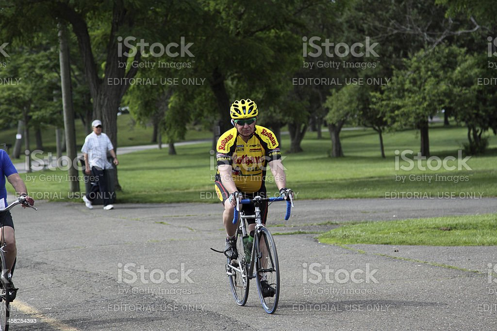 rider in yellow royalty-free stock photo