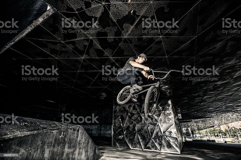BMX rider jump stock photo