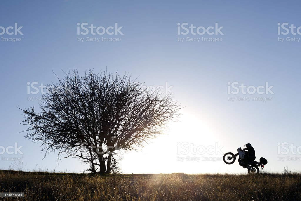 Rider lifted front of the bike royalty-free stock photo