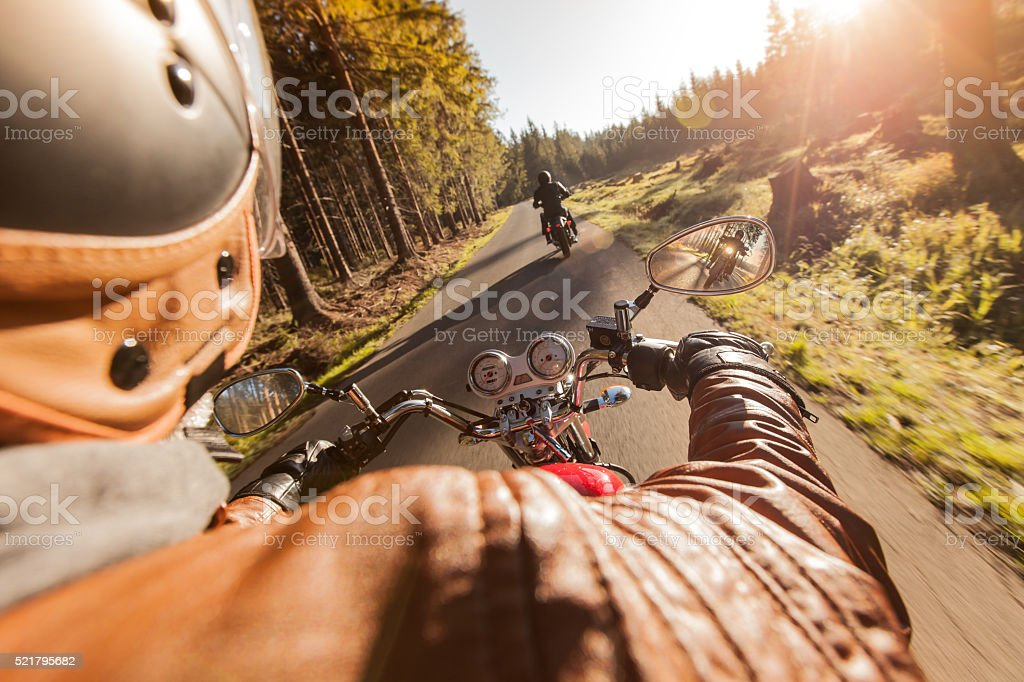 Rider on motorcycle. - foto de acervo